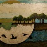 L'envol du solstice - Techniques mixtes sur toile - 92 x 152 cm