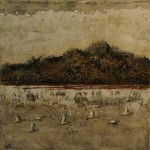 Voyage au Mont Gris - Techniques mixtes sur toile - 25 x 25 cm - Vendu