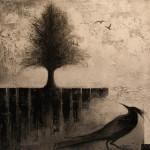 Entre ciel et terre - Techniques mixtes sur toile -  41 x 41 cm