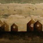 Le long de l'horizon (6) - Techniques mixtes sur toile - 20 x 41 cm