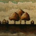 Le long de l'horizon (7) - Techniques mixtes sur toile - 20 x 41 cm