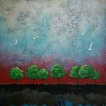Au crépuscule - Techniques mixtes sur toile - 31 x 31 cm