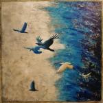 Bleu ciel - Techniques mixtes sur toile - 61 x 61 cm - Vendu