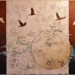 Oiseaux de nuit - Techniques mixtes sur toile - 61 x 91 cm